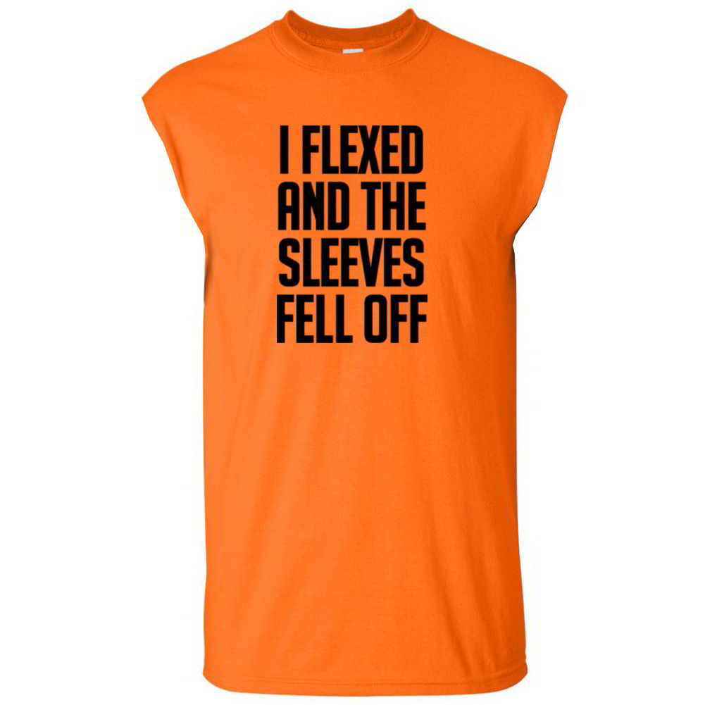 I flexed and the sleeves fell off funny gym mens workout for How to cut sleeves off a shirt