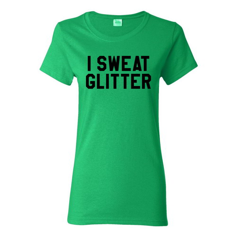 I sweat glitter funny gym tees diva crossfit womens yoga for T shirts that don t show sweat