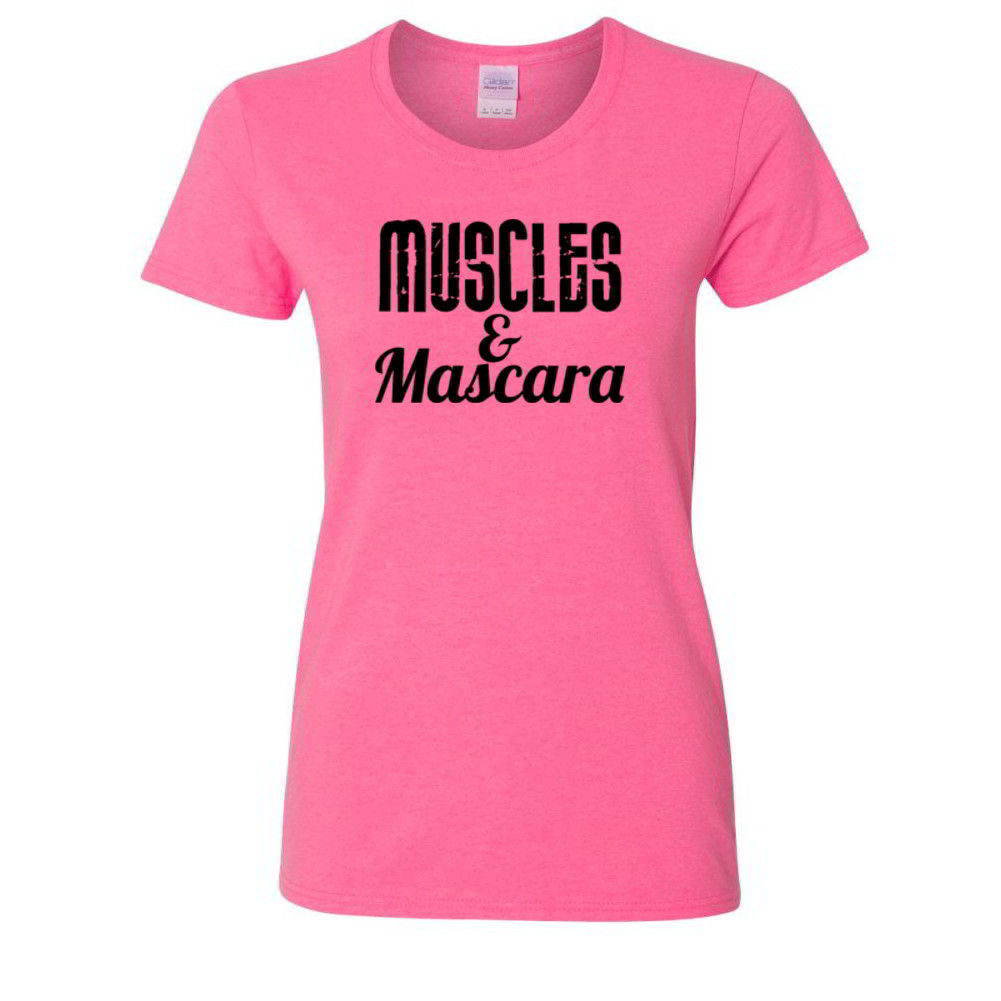 Muscles And Mascara Workout Tees Funny Crossfit Lifting
