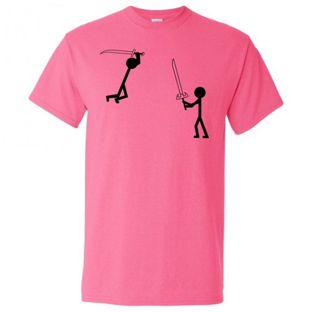 Stick man fight funny nerd tees sword ninja cool youth for This guy has an awesome girlfriend shirt