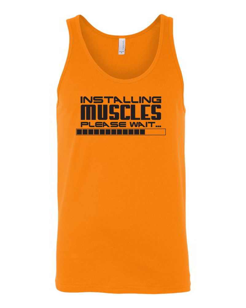 Workout Tops: Installing Muscles, Please Wait Funny Workout Clothes Gym