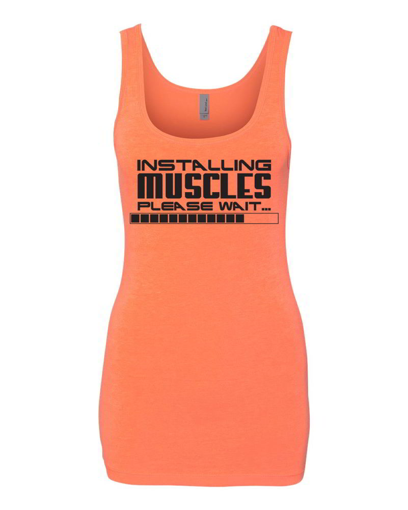 Installing muscles please wait funny womens workout ladies gym tank
